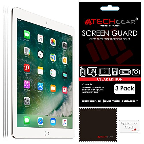 TECHGEAR [Pack of 3] Screen Protectors for New iPad 9.7' (2018/2017) - Clear Screen Protector Guard Cover with Cloth & Applicator Card, Compatible with Apple iPad 6th Gen & 5th Gen