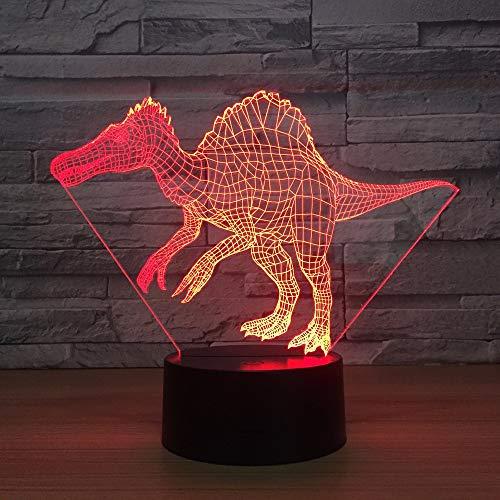 Sanzangtang Led-nachtlampje, 3D-visionzeven, kleuren-afstandsbediening, dinosaurus, tafellamp, glasvezel, nachtlampje