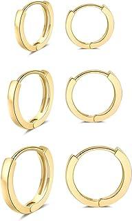 3 Pairs Small Hoop Earrings 14K Gold Plated Huggie Hoop...