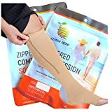 Short/Petite Zippered Compression Socks with Zipper Safe Guard & Open Toe- Best Leg Support Stockings (2X-Large Short, Beige)