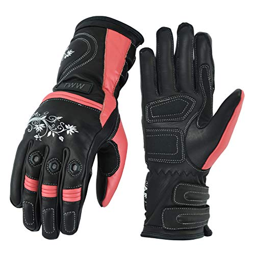 Ladies Motorcycle Motorbike Black Pink Cowhide Leather CE Armored Glove (S)