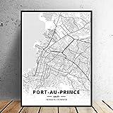 MXmama Schwarz-Weiß-Karte Port Au Prince Haiti Weiß