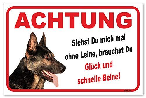 AdriLeo Schild - Vorsicht Deutscher Schäferhund - Ohne Leine - (20x30cm) / Achtung Hund Wachhund