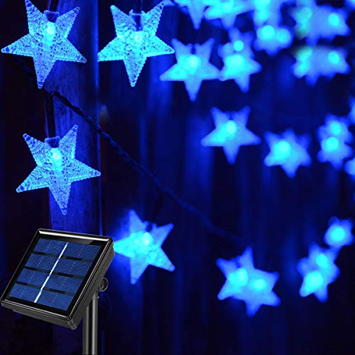 Abkshine 120 LED Blue Solar Star String Lights, Waterproof Solar Powered Outdoor Fairy Lights for Garden Pathway,Backyard,Patio Umbrella,Teepee,Awning,Gazebo,Pergola,Balcony,Christmas Tree Decorations