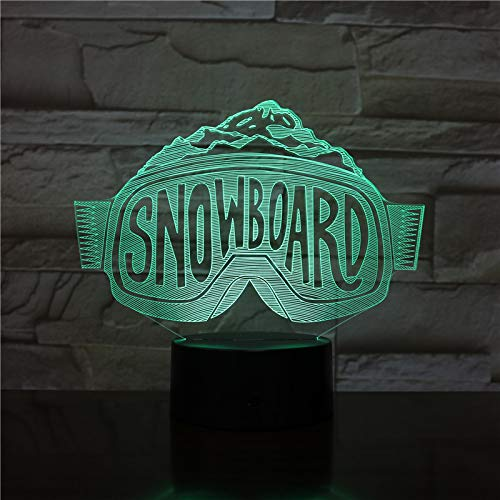 Usb Ski Snowboard Skiing Ski Goggles Neon 3D LED Night Light USB Table Lamp Kids birthday Gift Bedside home decoration