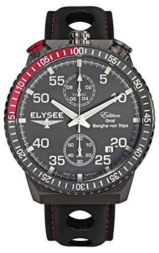 Elysee 80517MM Rally Timer I Edelstahl grau ionisiert Quarz Herrenuhr