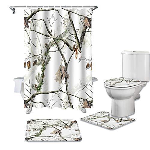 LEO BON 4-teiliges Duschvorhang-Set mit Teppichen & Handtüchern & Zubehör, Camouflage-Baum-Muster, langlebig, wasserdicht, Duschvorhang, Anzug für Erwachsene & Kinder