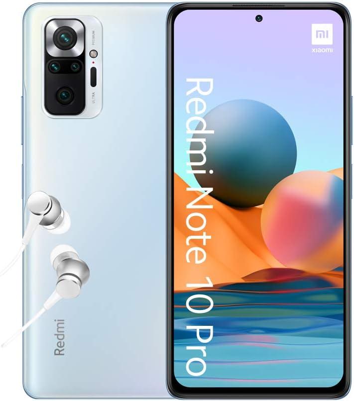 Xiaomi Redmi Note 10 Pro Smartphone + Kopfhörer (16,94cm (6,67″) AMOLED Display 120Hz, 6GB+128GB Speicher, 108MP Quad-Rückkamera, 13MP Frontkamera,…