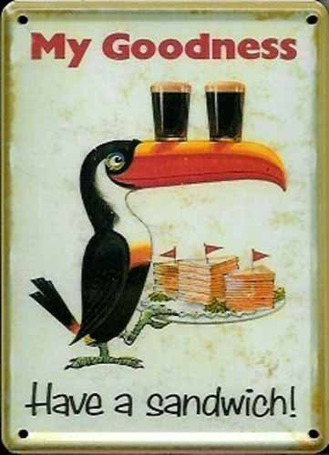 Enseigne M/étal Petit Format Guinness Toucan Mascotte Texte Anglais Lovely Day For a Guinness