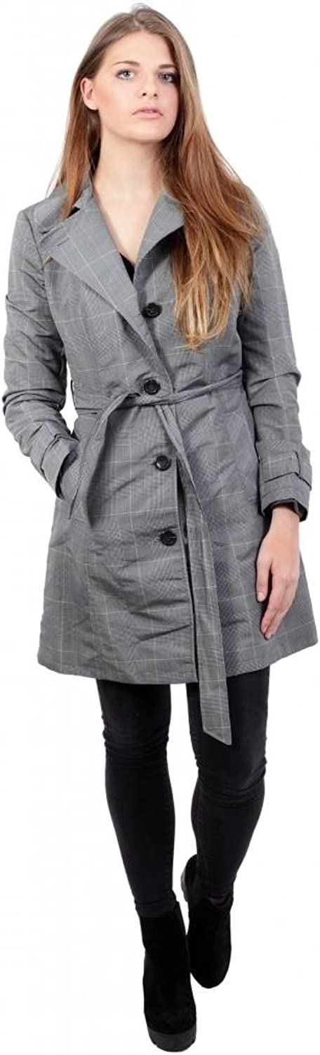 Anastasia Women`s Check Belted Single Breasted Trench Coat