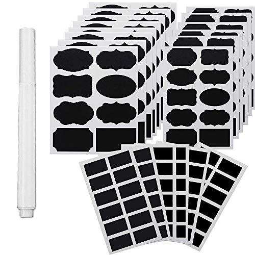 NEWKIBOU Etiquetas para pizarra,188 pegatinas de pizarra reutilizables de primera calidad con marcador de tiza blanca para...