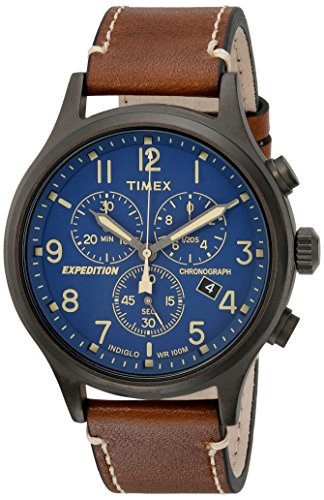 Timex Men's TW4B09000 Expedition Scout Chrono Brown/Blue Leather Strap Watch