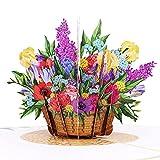 MOKIO® Pop-Up Blumenkarte – Farbenfroher Blumenkorb – 3D Geschenkkarte zum Geburtstag, als Gutschein oder für ein Geldgeschenk, Blumen Klappkarte mit Umschlag