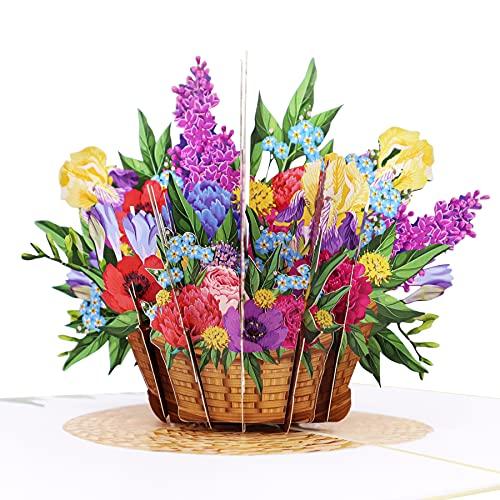 MOKIO® Pop-Up Blumenkarte [NEU!] – farbenfroher Blumenkorb – 3D Geschenkkarte zum Geburtstag, als Gutschein oder für ein Geldgeschenk, Blumen Klappkarte mit Umschlag