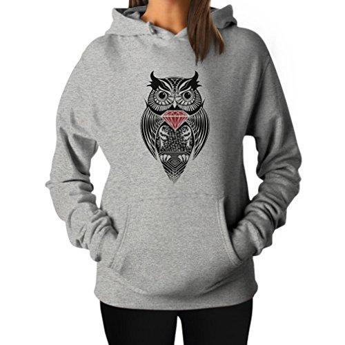 TeeStars Women's - Diamond Owl Hoodie Large Grey