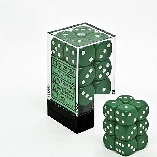 Chessex Opaque 16Mm D6 Dice Block 12 Pipped Dice, Green/White