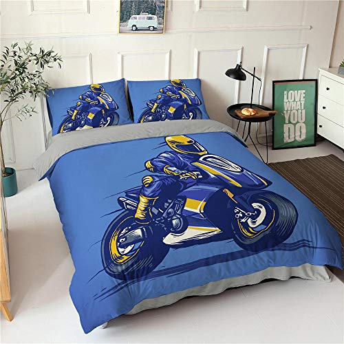 HGFHKL 3D Motorrad blau Bettbezug Kissenbezug Tagesdecke Luxus Bettwäsche Set Home Dekoration Erwachsenen Tagesdecke