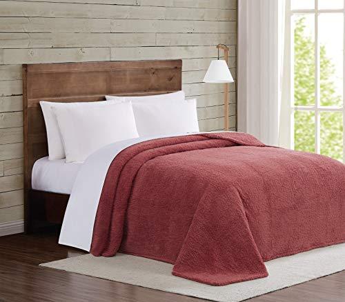 Brooklyn Loom Marshmallow Sherpa Bed Blanket Decke, Dusty Rose, King