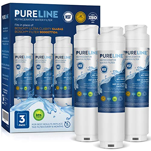 Pureline 9000 077104 UltraClarity REPLFLTR10 Water Filter Replacement for Bosch Ultra Clarity 9000194412, 644845, B26FT70SNS, B22CS80SNS, B22CS50SNS, Haier 0060820860, Miele KWF1000 (3 Pack)