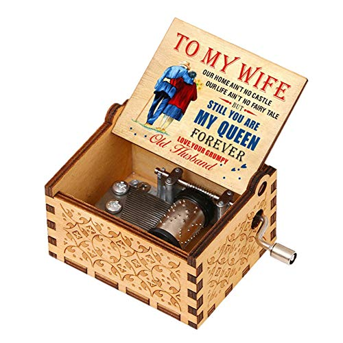 jianama Music Box, Retro Ornament Boxes, Hand Crank Engraved Musical Box, Wooden Box with Music for Valentine's Day, Anniversary, New Year, Birthday Gift (Husband to Wife Pattern 1)