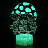 Dominante casa de setas luz de noche luz de neón creativa luz de noche multicolor luz LED acrílico 4D base agrietada