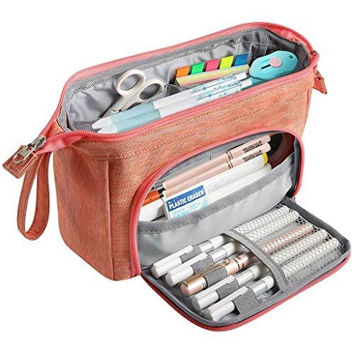 LUGEUK Estuche plegable de gran capacidad para lápices, para estudiantes, escuela, doble cremallera, portátil, gran almacenamiento, almacenamiento de cosméticos (color rosa