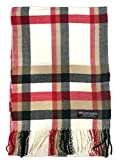 100% Cashmere Scarf Made in Scotland Wool Buffalo Tartan Windowpane Check Plaid (Cream Camel Red Black (BF))