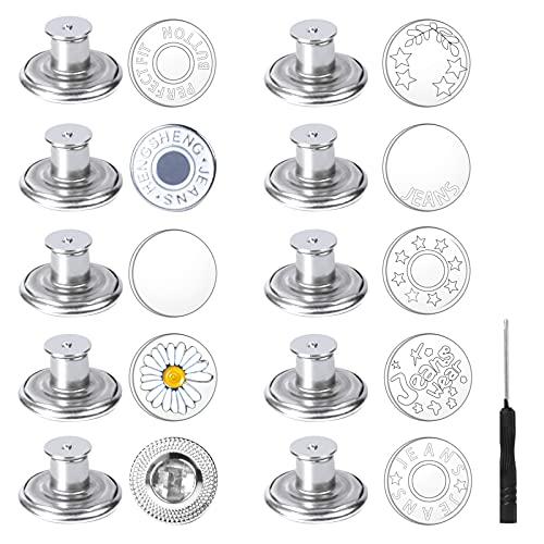 10 Piezas Botones para Vaqueros 17 mm Botones de Metal Instantáneo Vintage Boton Jeans Pin, Botones Desmontables Sin Costuras de Repuesto, Botón Eemplazo Pantalones, Botón de Presión Para DIY (Plata)
