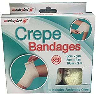 Masterplast Crepe Bandages -First Aid Medical Support. 3 Pack Includes Fastening Clips. For Sprains Strains And Accidents.:Masterpola