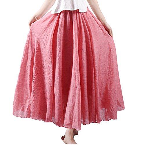 Asher Women's Bohemian Style Elastic Waist Band Cotton Linen Long Maxi Skirt Dress (95CM, Light Red)