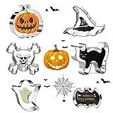 GUBOOM Stampi Biscotti, Formine Biscotti Halloween Set, 6 Acciaio Inox Stampi DIY Biscotti, Gatto, teschio, pipistrello grande, zucca, fantasma a testa tonda, cappello da mago