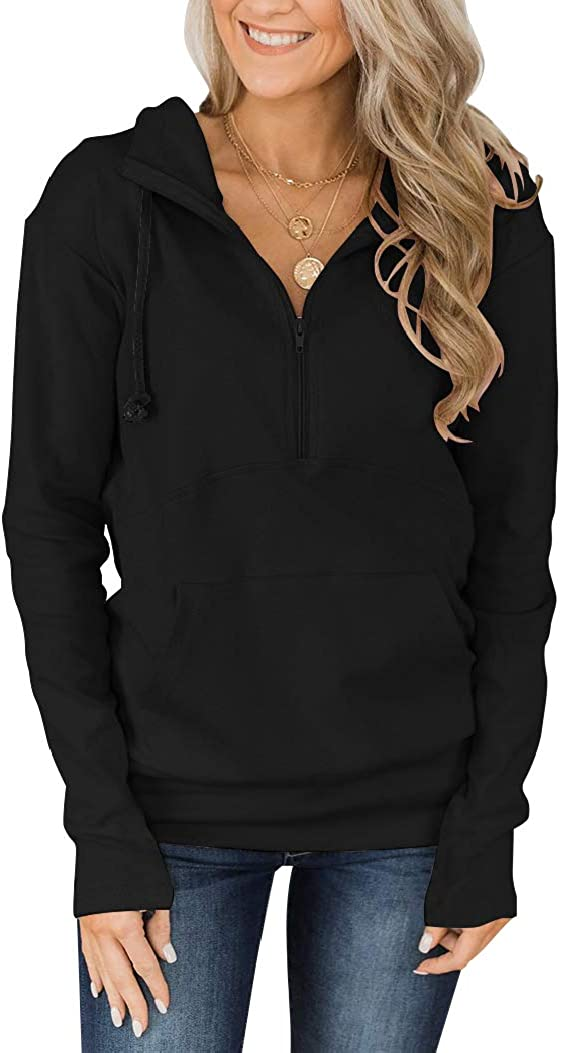 Fallorchid Womens Quarter Zip Pullover Hoodies Casual Long Sleeve Sweatshits with Pocket
