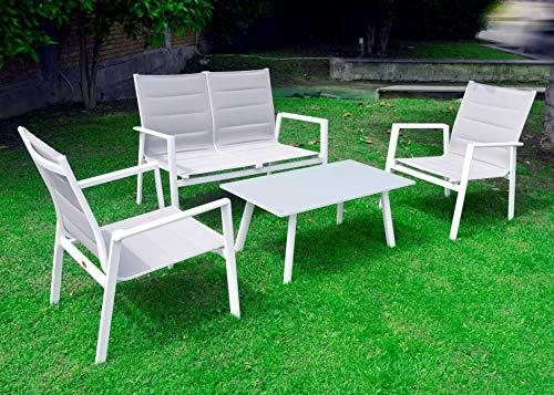 Scaramuzza Modo Salottino da Giardino in Alluminio e Textilene Bianco 4 Pezzi Tavolino con Top in Vetro Temperato