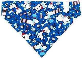 Patriotic Dog Blue Pet Dog Bandana No-Tie