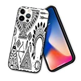 Tribal Compatible with New iPhone 12 Series 2020 Case,Feather Head Band Teepee Tent Bow and Arrow Art Print,Design Flexible Slim TPU Case Design for iPhone 12 6.1' Black and White