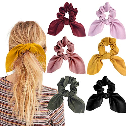 6PCS Hair Scrunchies Satin SilkRabbit Bunny Ear Bow Bowknot Scrunchie Bobbles Elastic Hair Ties Bands Ponytail Holder for Women Accessories