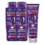 L'Oréal Paris Shampoo + Balsamo Biondo, Kit con Shampoo e Balsamo Anti-Giallo Elvive Colo...
