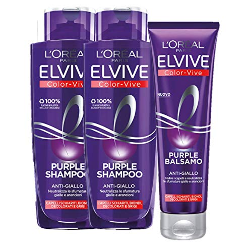 L Oréal Paris Shampoo + Balsamo Biondo, Kit con Shampoo e Balsamo Anti-Giallo Elvive Color Vive Purple, Confezione da 3
