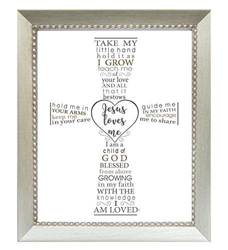 The Grandparent Gift Jesus Loves Me Frame for Baby's Baptism or Christening, Silver Frame