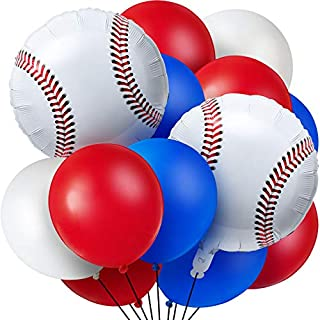 Aoriher 70 Pieces Baseball Theme Balloons, Include 10 Pieces Baseball Foil Balloons and 60 Pieces Latex Balloons Red, Blue...