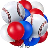 Aoriher 70 Pieces Baseball Theme Balloons, Include 10 Pieces Baseball Foil Balloons and 60 Pieces Latex Balloons Red, Blue and White Sport Balloons for Sports Themed Party Birthday Party Decoration Supplies