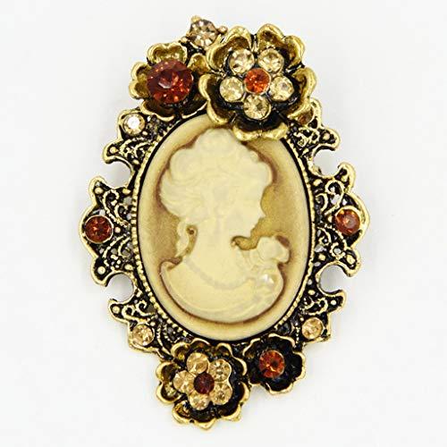 WOWOWO Pin de Broche de Banquete de Boda de Estilo Victoriano de camafeo de Diamantes de imitación Vintage Mujer