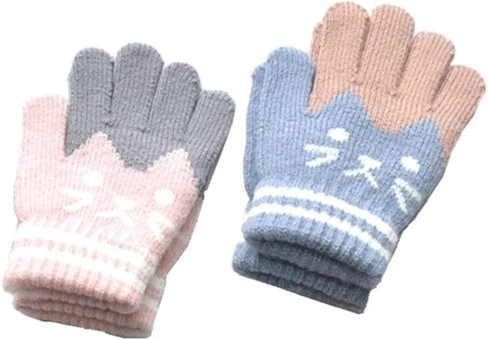 Lnrueg 2 Pairs Kids Ranking TOP3 Winter Gloves Thickened Wool Full Lovely Fin Max 84% OFF