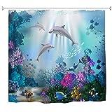 A.Monamour Mundo Submarino Peces De Coral Plantas con Delfines Vida Marina Fondos Azules para Niños Cortina De Ducha De Tela Impermeable Juego con Ganchos para Baño 165X180 Cm / 65'X72