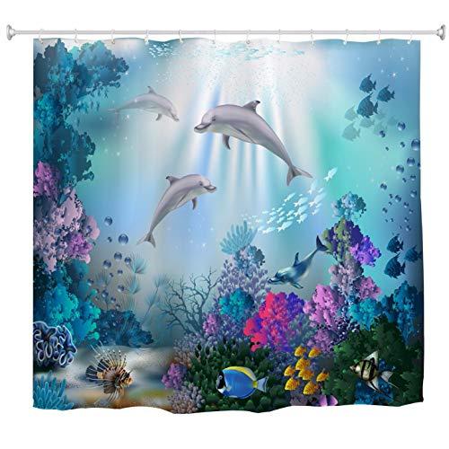 "A.Monamour Mundo Submarino Peces De Coral Plantas con Delfines Vida Marina Fondos Azules para Niños Cortina De Ducha De Tela Impermeable Juego con Ganchos para Baño 150X180 Cm / 60""X72"