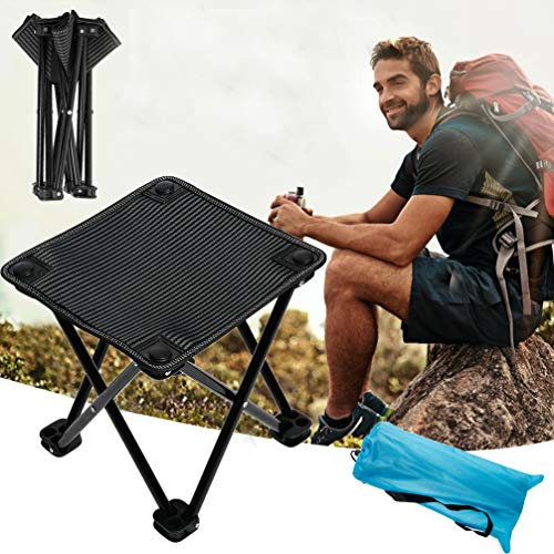 Samll Camping Stool Folding Chair Portable Camp Stool for Camping Fishing Hiking Gardening and Beach Camping Seat Folding Stool with Carry Bag