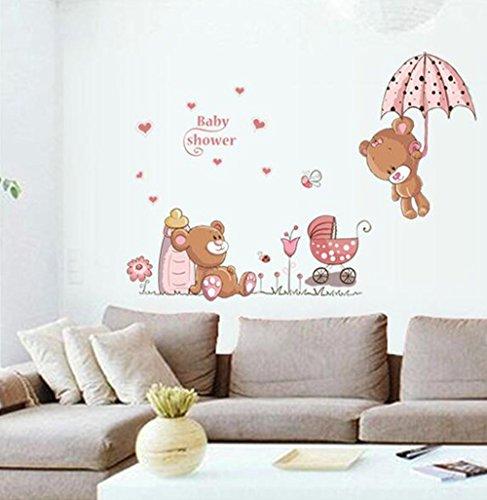 winhappyhome mignon ours Art Mural Stickers pour chambre d'enfant chambre fond amovible Decor Nail Art