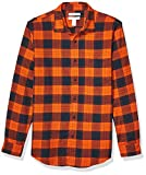 Amazon Essentials - Camisa de franela a cuadros, manga larga, ajustada, para hombre, Naranja (Orange/Navy Plaid), US XXL (EU XXXL - 4XL)