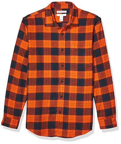 Amazon Essentials Herren-Flanellhemd, schmale Passform, Langarm, kariert, Orange/Navy Plaid, XXL