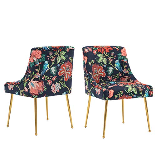 CIMOTA Modern Dining Chairs Set of 2, Tufted Upholstered Velvet Chair Comfy Accent Chair with Brass Metal Legs for Living Room,Vanity,Bedroom (Retro Red Flower)